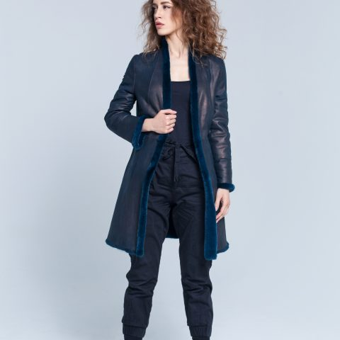 Melody blue fur coat