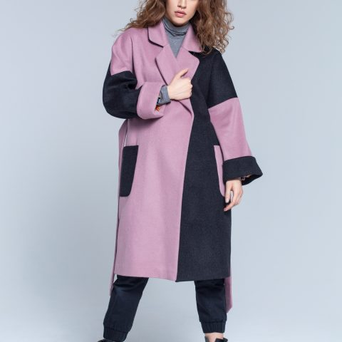Pink/ grey oversized coat
